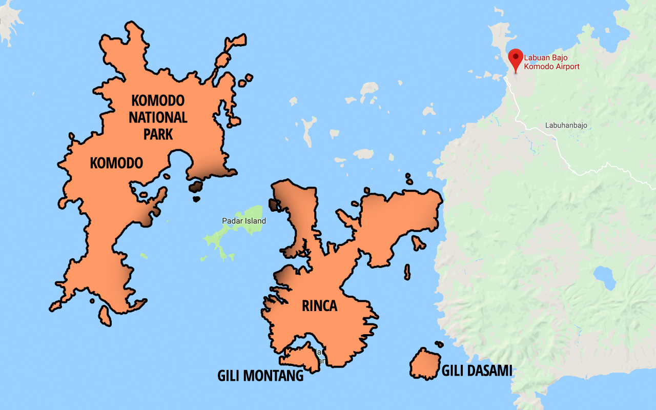 map of komodo island where you can see komodo dragons