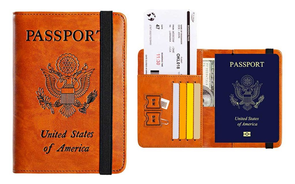2 - PASCACOO Leather Passport Holder Cover Wallet with RFID Block