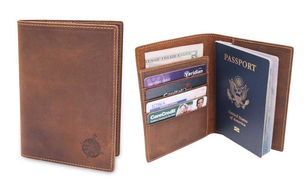 3 - Wanderlings Leather Passport Holder Travel Wallet with RFID Block
