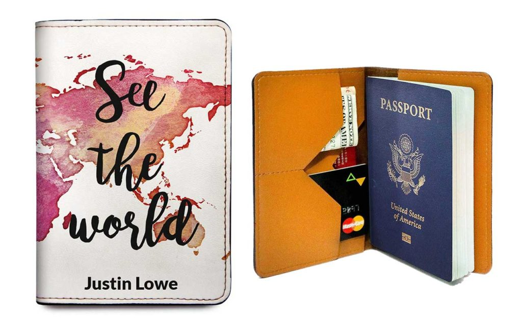 6 - With Love From Julie Personalized Leather Passport Holder Cover