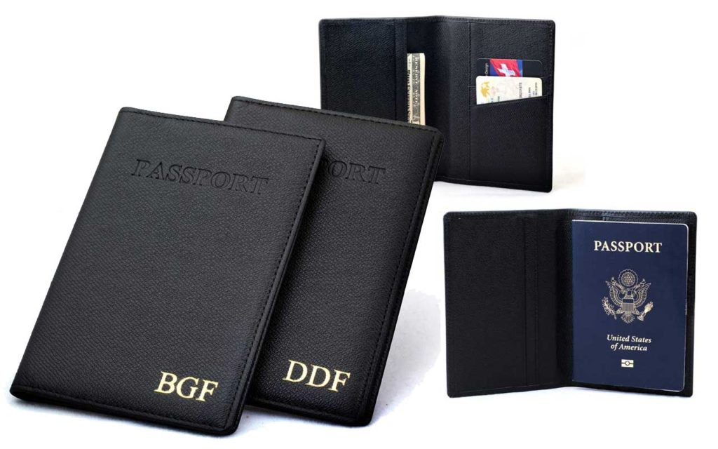 8 - Easy Bay Gifts Personalised Leather Passport Holder Wallet with RFID Block