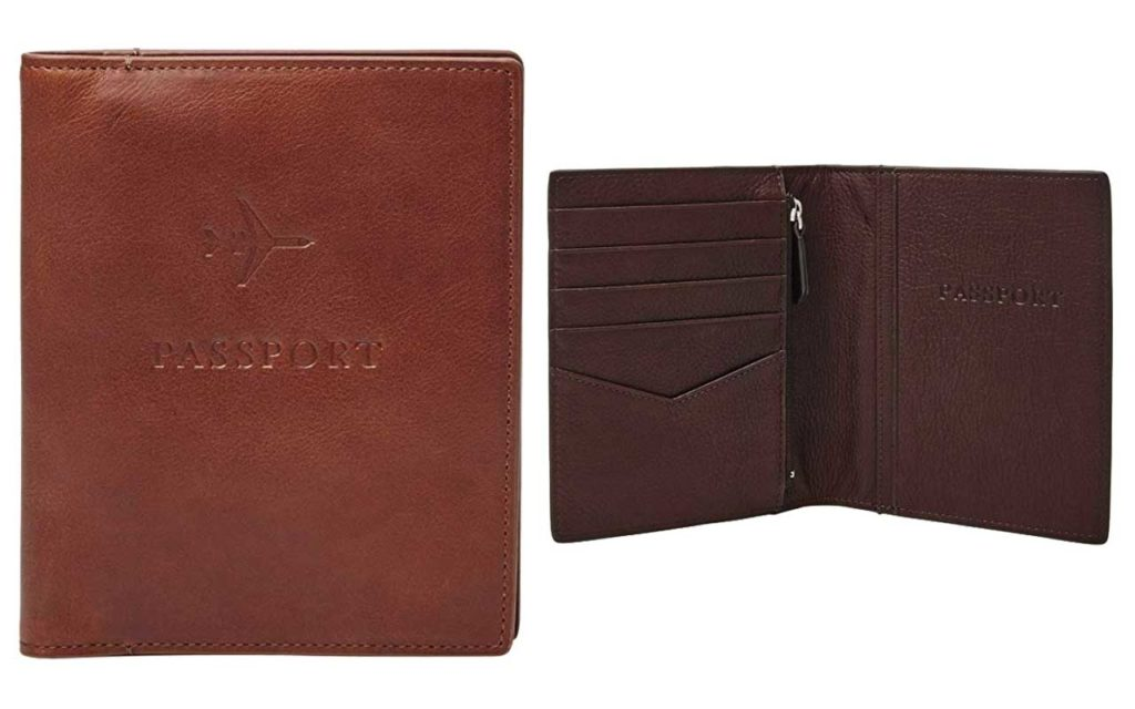 Fossil Leather Passport Case with RFID Block