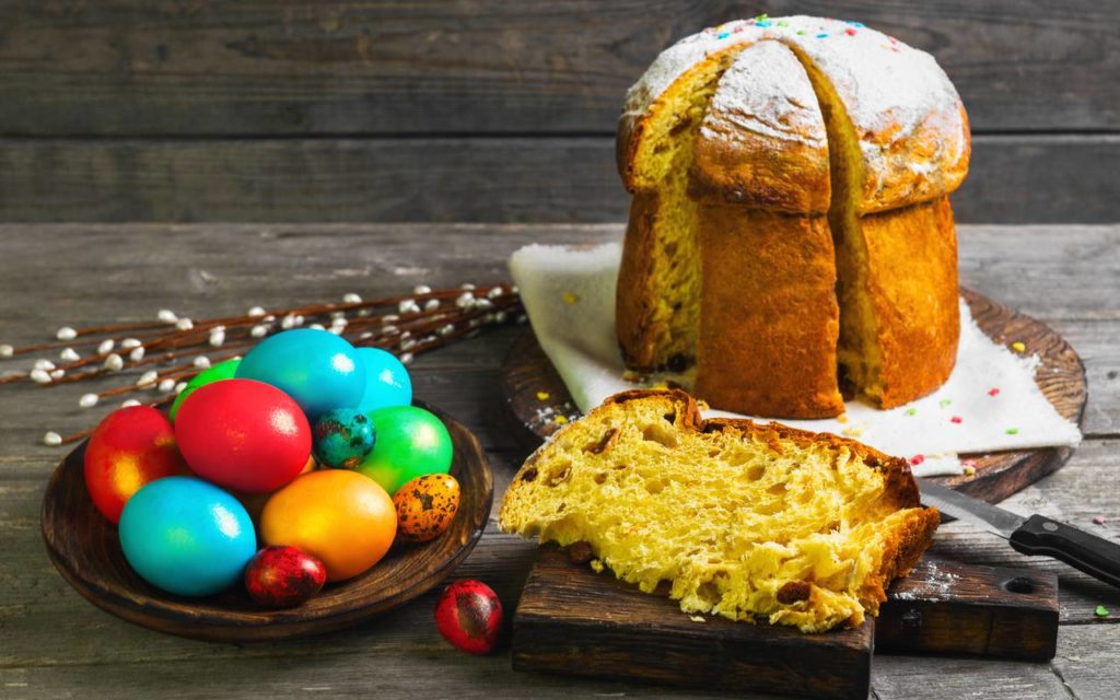 Traditional ukrainian food served at Easter - paska