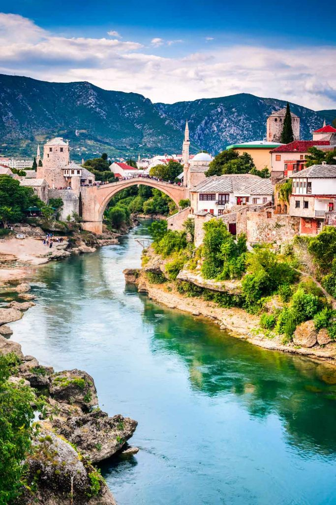 Bosnia and Herzegovina travel: Mostar. The Old Bridge, Stari Most by the river Neretva.