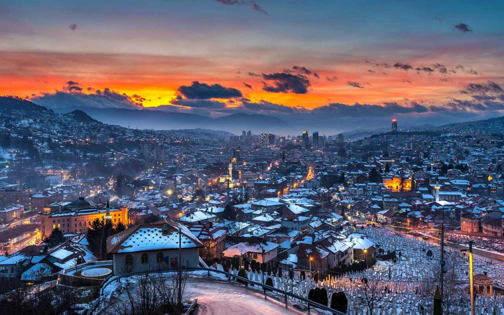 Sarajevo, Bosnia and Herzegovina, skyline panoramic view in winter with snow at sunset.