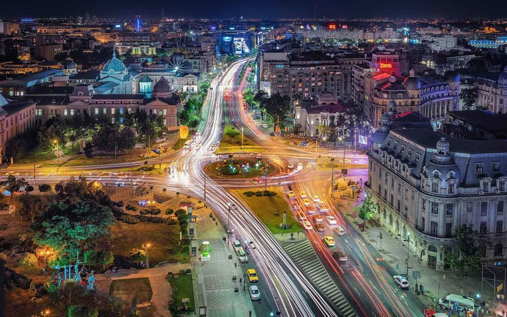 Aerial view of the University Square in Bucharest, Romania