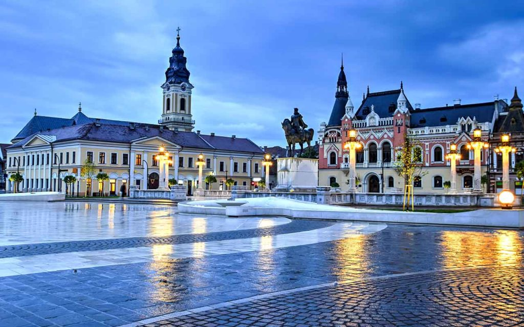 Union square (Piata Unirii) in Oradea, Romania