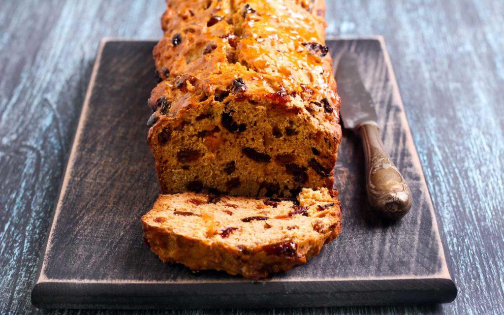 Welsh fruit tea bread on a wooden board
