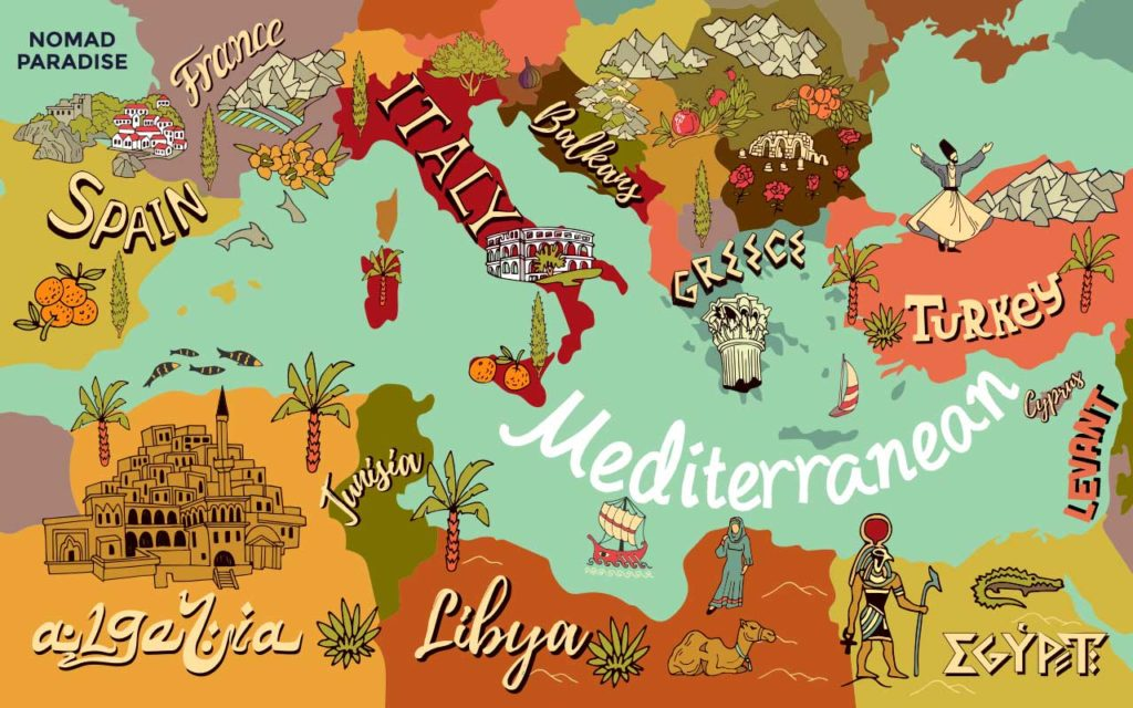 Mediterranean food map depicting the countries influencing mediterranean cuisine.