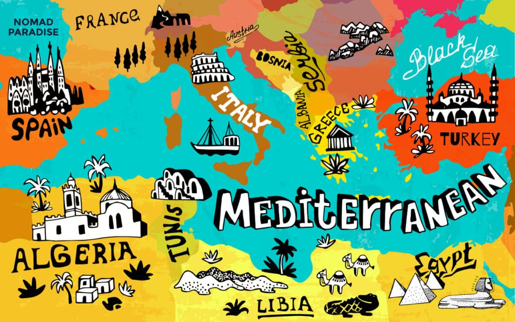 Mediterranean food map showing the regions and countries that are considered part of the Mediterranean cuisine