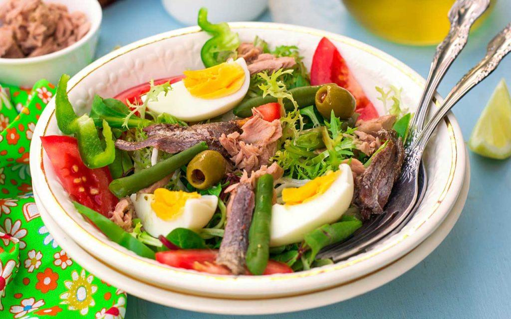 Mediterranean food: nicoise salad