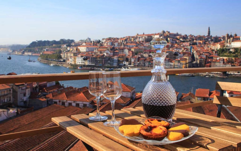 Portuguese Drink: Port Wine with a view to the Duoro River