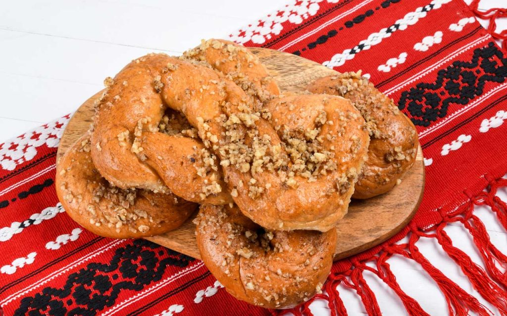 Romanian food: Mucenici (Sweet Dough Rolls)