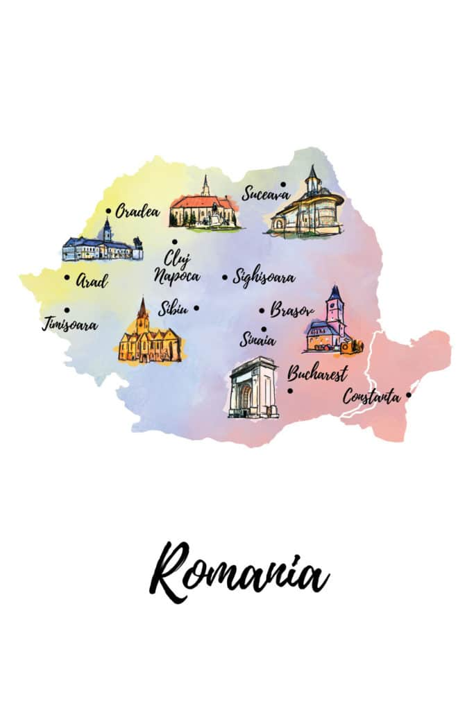 Romania and Romanian cities illustrated map