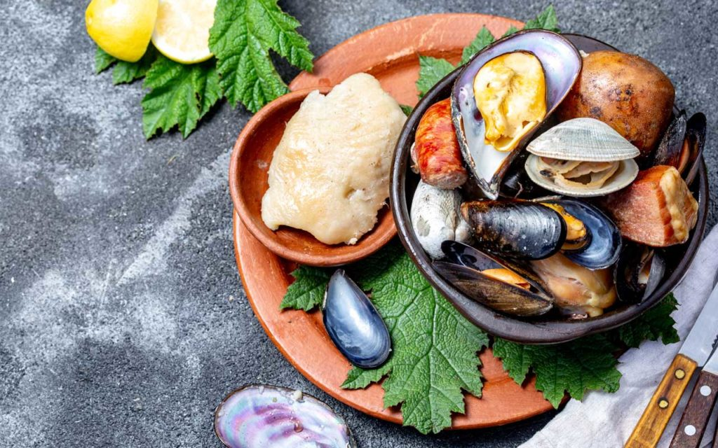 Chilean Food: Curanto (Meat, Seafood, and Vegetables)