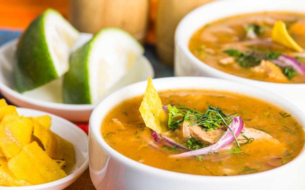 Ecuadorian food: encebollado - albacore & onion soup
