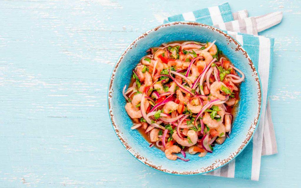 Ecuadorian food: ceviche de camaron - shrimp ceviche