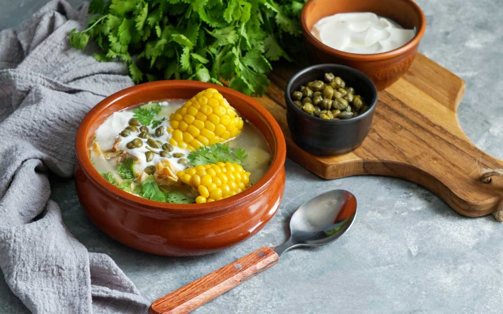 Food in Colombia: Ajiaco (Potato and Chicken Soup)