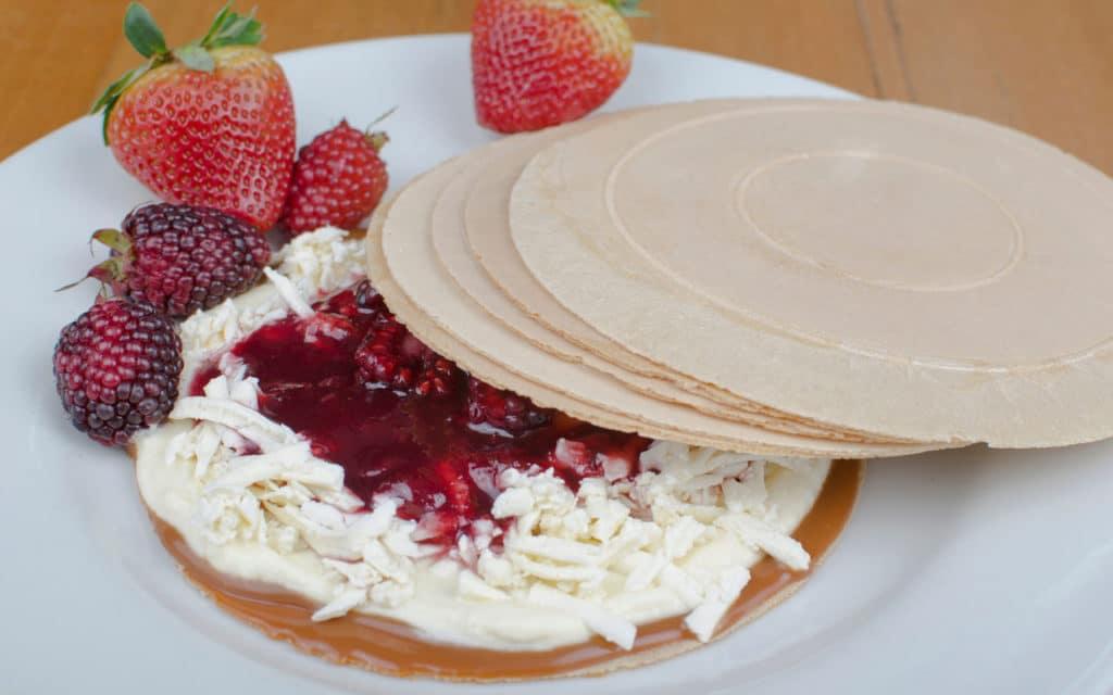 Colombian dessert: Obleas (Thin Wafer Sandwich)