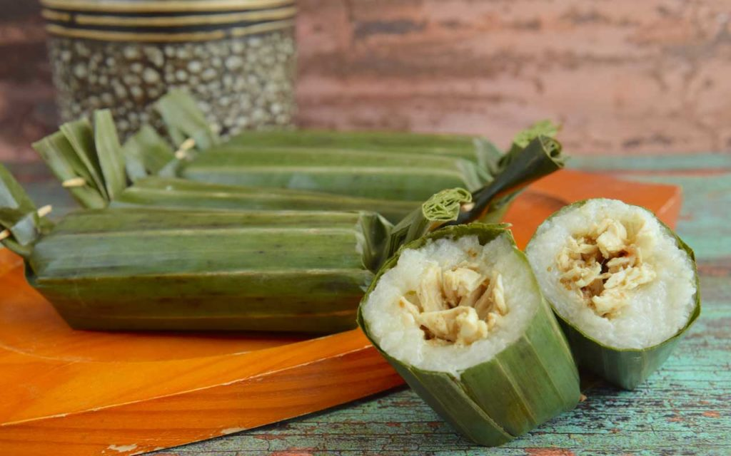 Indonesian Appetizer: Lemper (Steamed Glutinous Rice with Chicken)