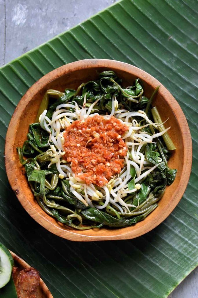 Indonesian Cuisine: Plecing Kangkung (Water Spinach Salad with Sambal Plecing)