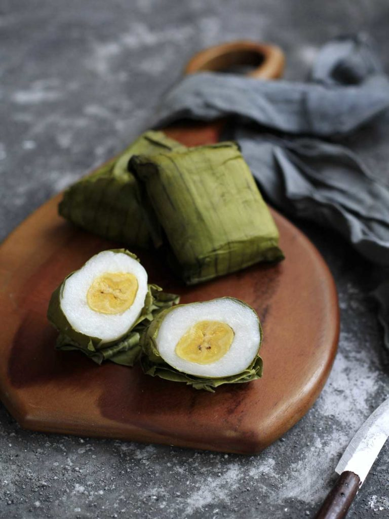 Indonesian Dessert: Nagasari (Rice Flour Cake with Banana)