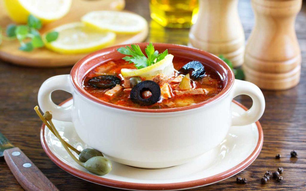 Russian Soup: Solyanka (Солянка) – Sausage Soup