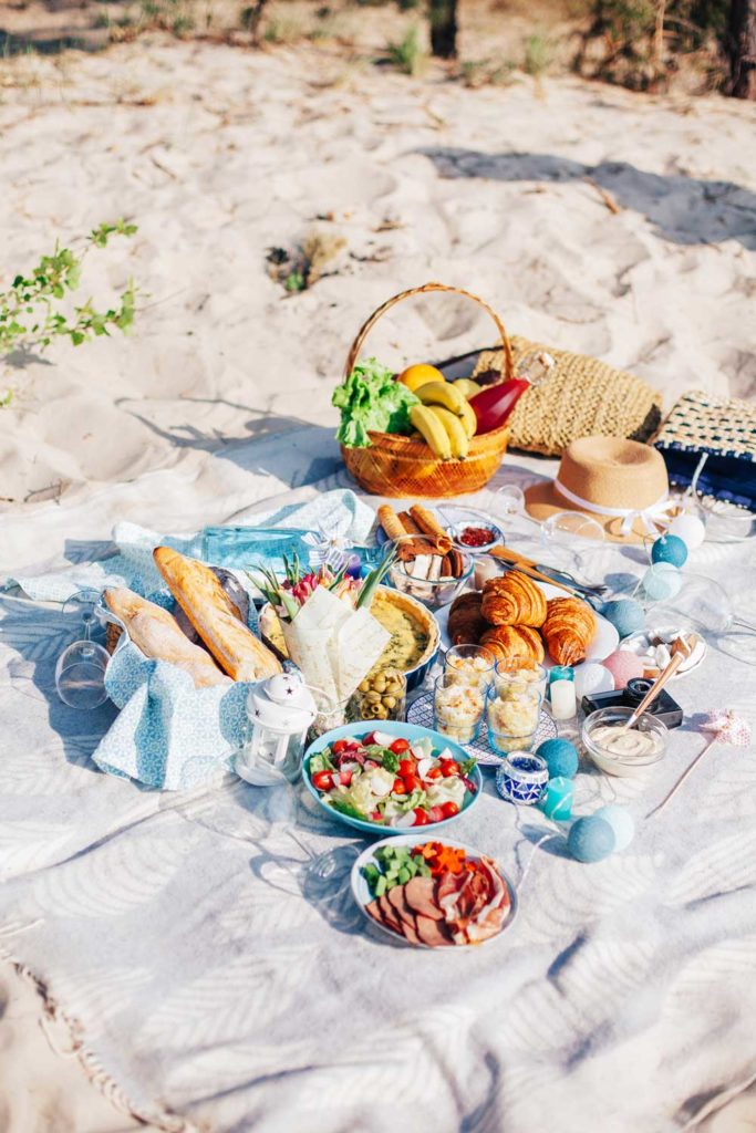 Staycation idea: a picnic outside at the beach