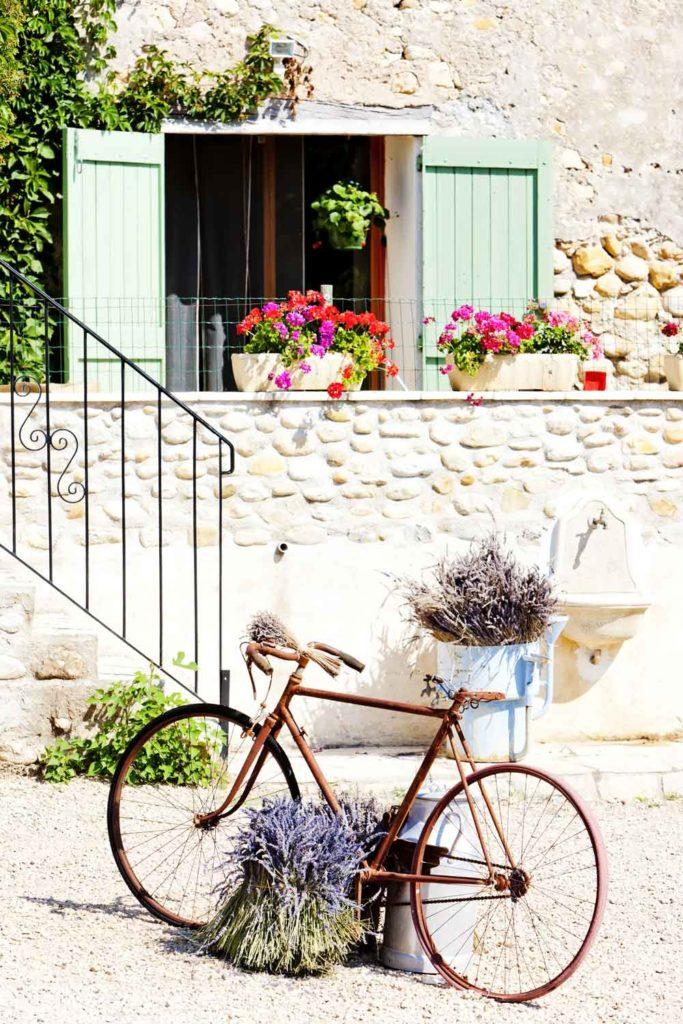 bike against a beautiful background of stone walls and flowers