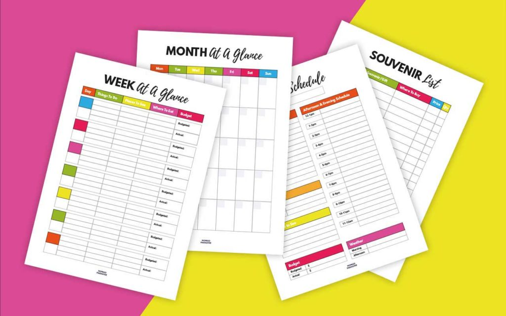 Travel Binder Pages (Week at a Glance, Month at a Glance, Souvenir List, Daily Schedule)