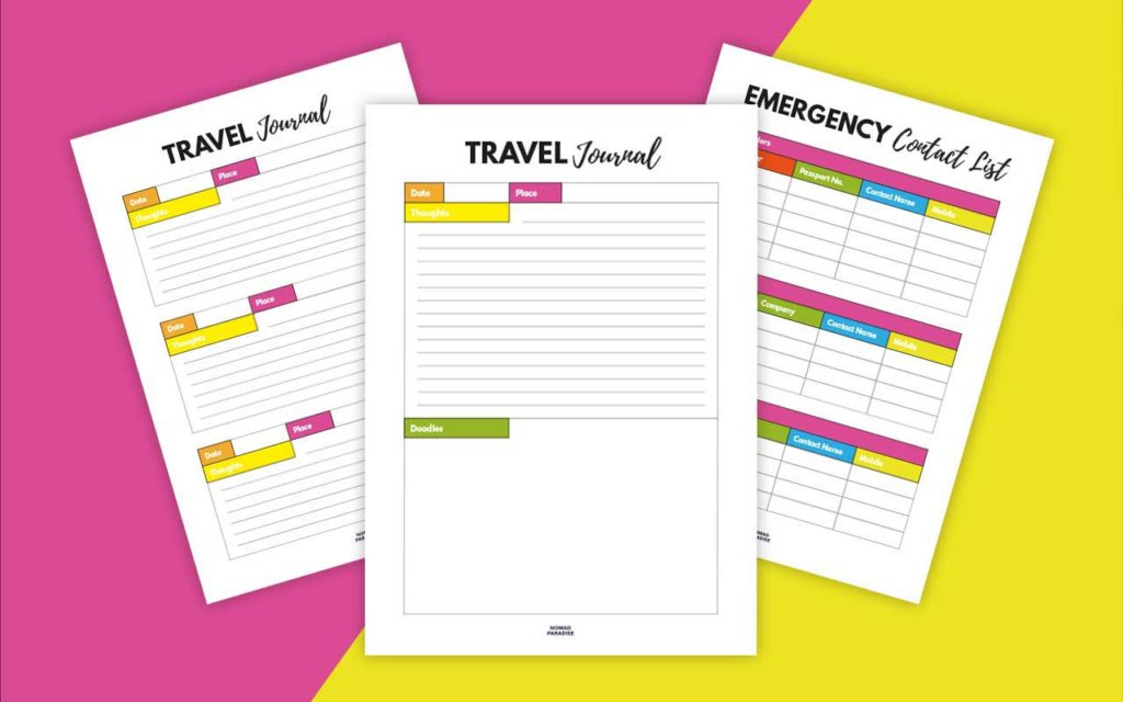 Travel Binder Pages (Travel Journal, Emergency Contact List)