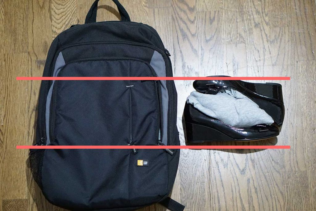 packing shoes in a backpack