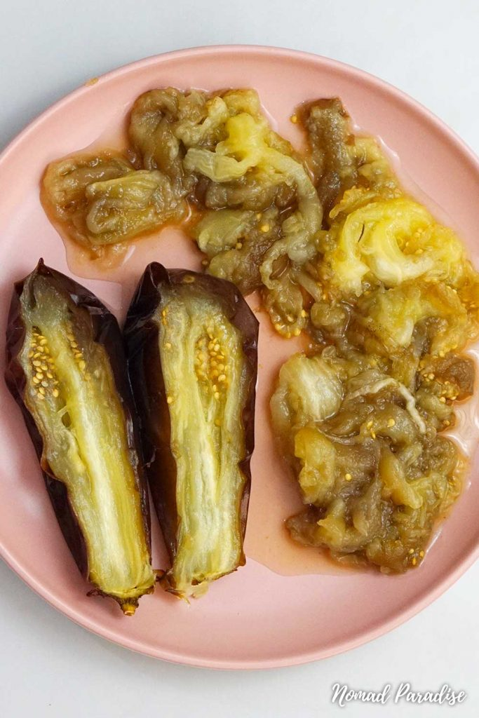 oven-roasted eggplant: scooped up