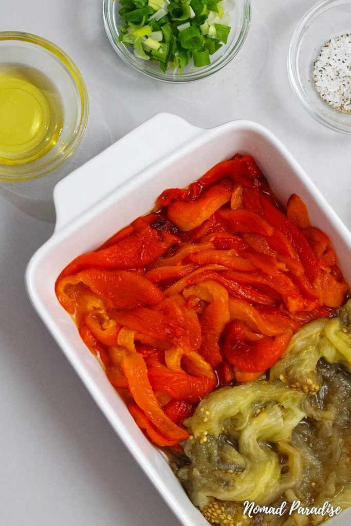 Easy Oven-Roasted Eggplant Salad Spread with Peppers & Tomatoes (Salata de Vinete cu Ardei): all ready ingredients pictured before mixing