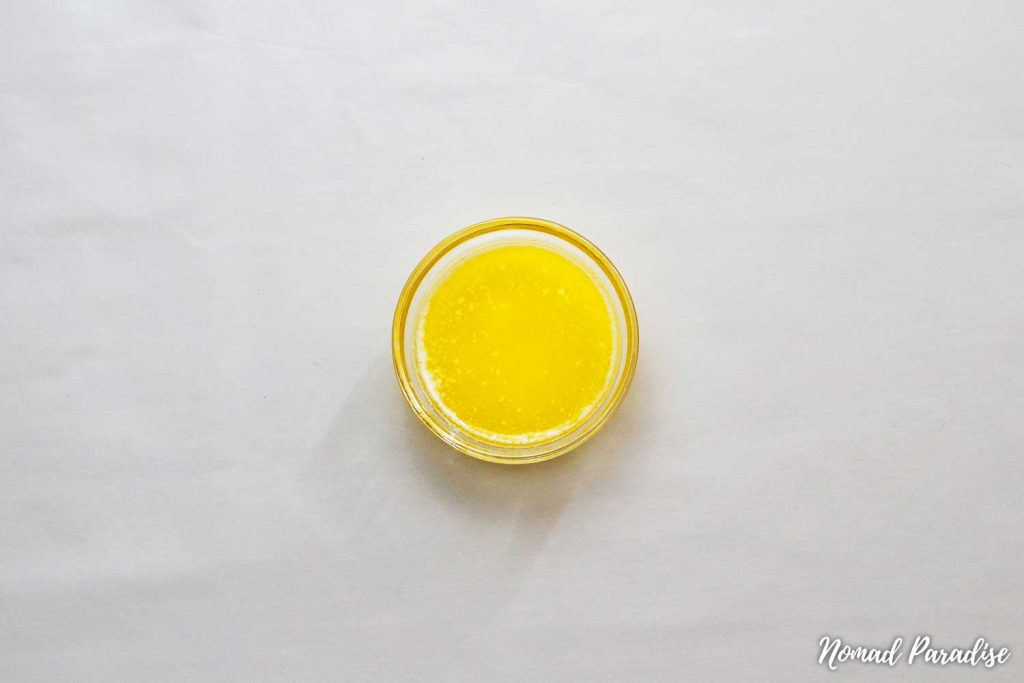 Melted butter for the Russian Honey Cake (Medovik) dough