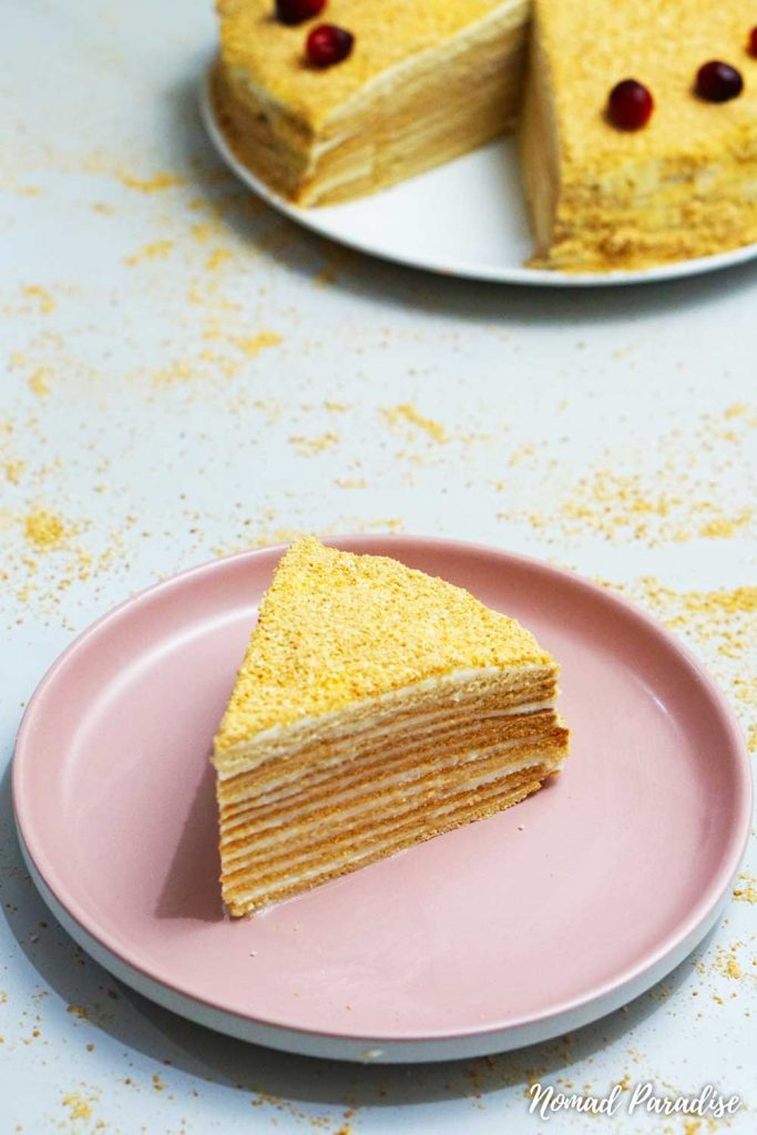 Russian Honey Cake (Medovik) slice with visible layers
