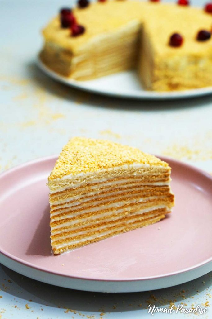 Russian Honey Cake (Medovik) slice with visible layers side view