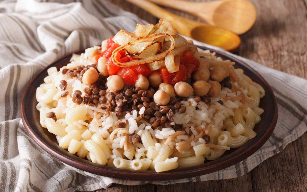 Egyptian Food: Koshary (Mixture of Rice, Macaroni, and Lentils)