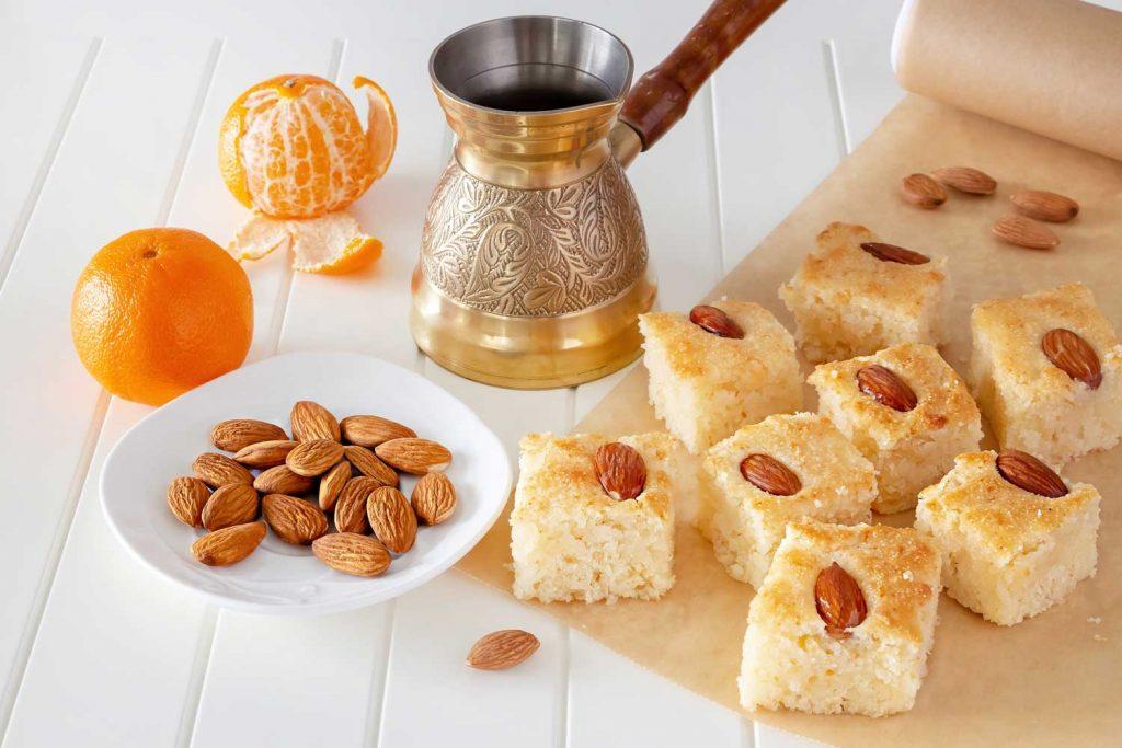 Lebanese Food: Namoura or Basbousa – Semolina Cake