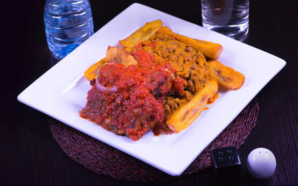 Nigerian food: Beans and Dodo (Fried Plantain)