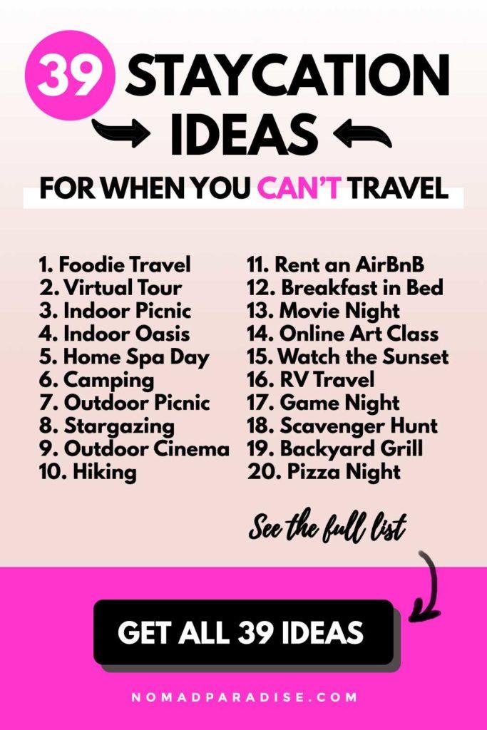Staycation Ideas List