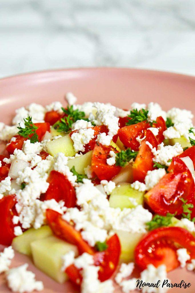 Shopska salad (zoomed-in)