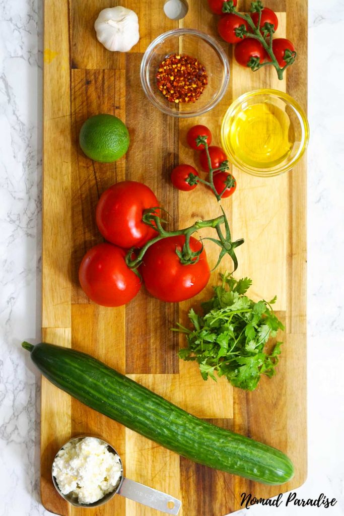 Shopska salad ingredients