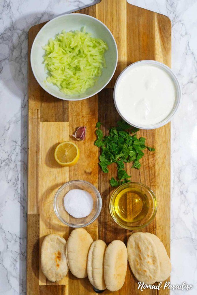 Greek Cypriot Talatouri Tzatziki Spread Ingredients with the Shredded Cucumber