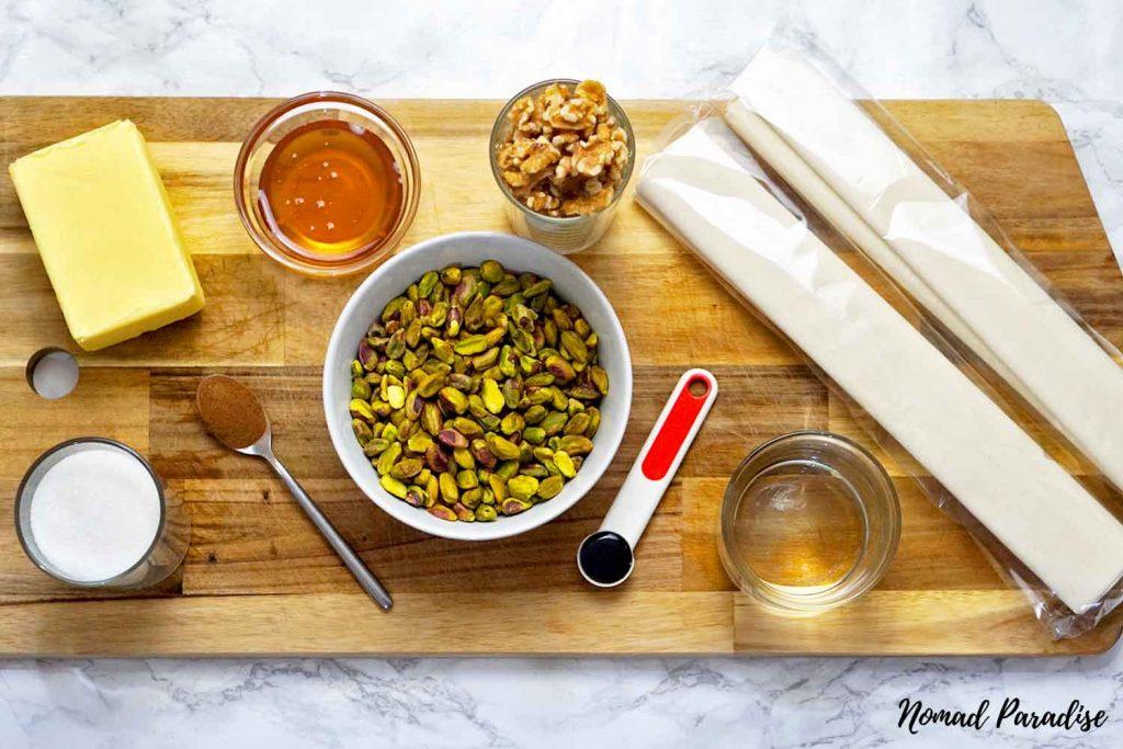 Greek-Cypriot Baklava ingredients