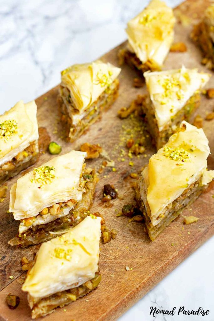 serving baklava on a board