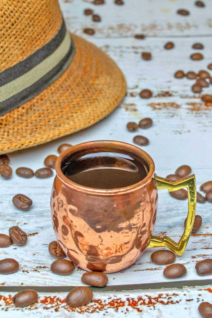 Coffee in a copper mug