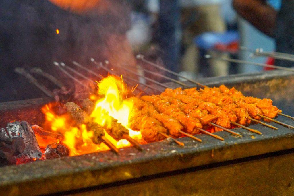 Bangladeshi Food: Sheek Kebab with Naan (Kebab with Flatbread)