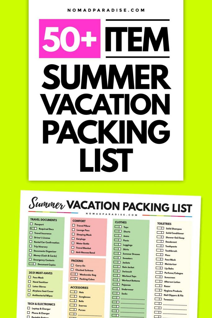 50+ Item Summer Vacation Packing List
