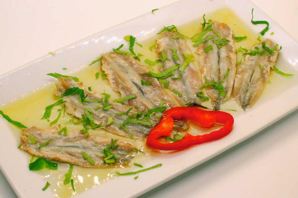 Greek food: Marinated Anchovy